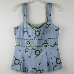 Nanette Lapore | Blue Sage Green Embroidered Tank